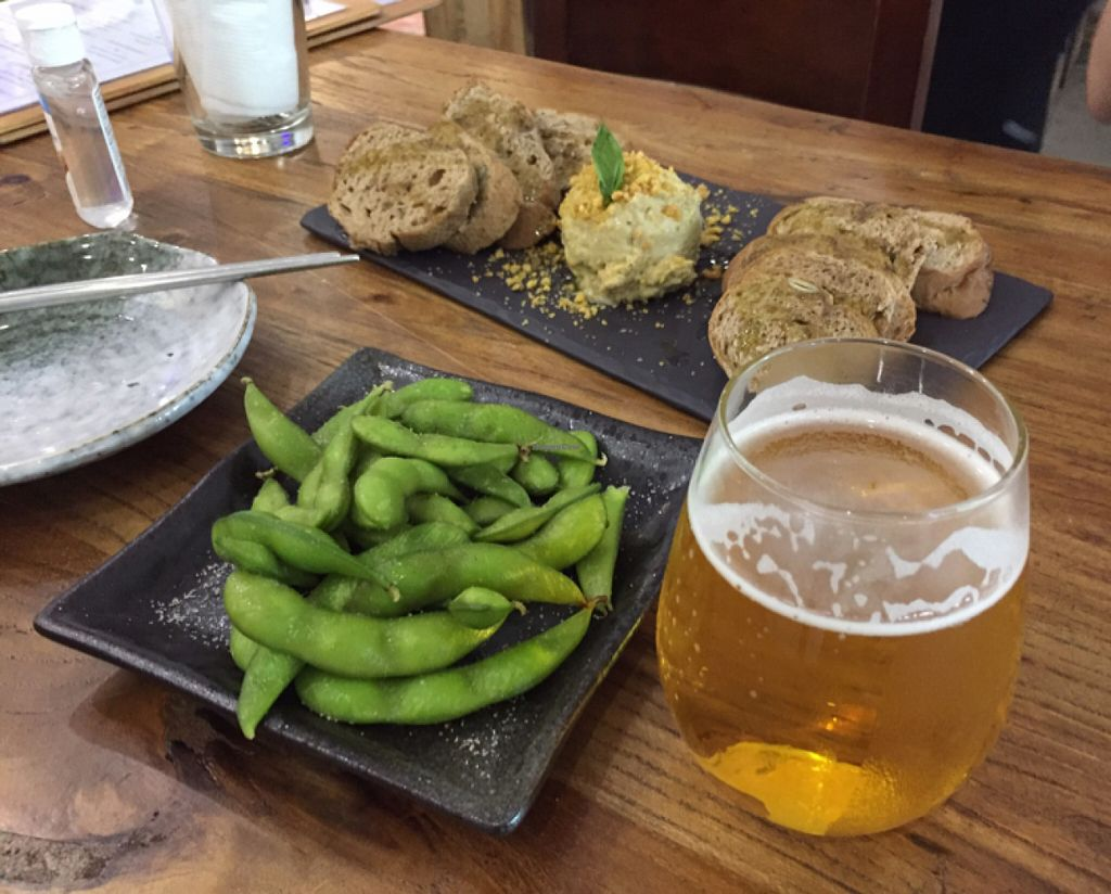 """Photo of Casa Tapas - maybe closed  by <a href=""""/members/profile/tanyafr"""">tanyafr</a> <br/>Edamame, hummus, frosty beer <br/> June 19, 2016  - <a href='/contact/abuse/image/63114/154807'>Report</a>"""