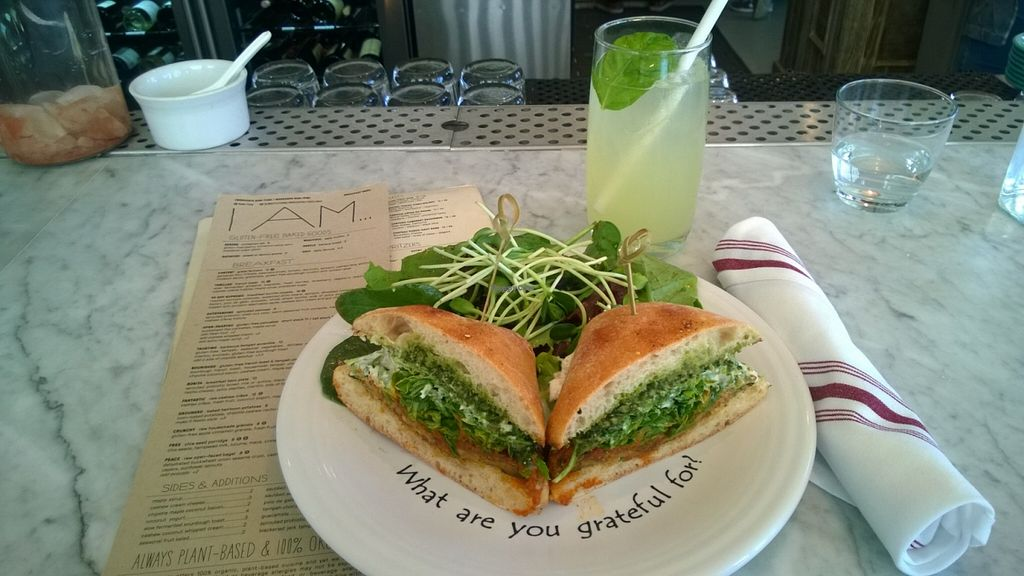 """Photo of Cafe Gratitude  by <a href=""""/members/profile/Vegan%20Victoria"""">Vegan Victoria</a> <br/>'Awesome' Sandwich & 'Refreshed' Spritzer at Café Gratitude in San Diego <br/> April 27, 2016  - <a href='/contact/abuse/image/63145/146467'>Report</a>"""