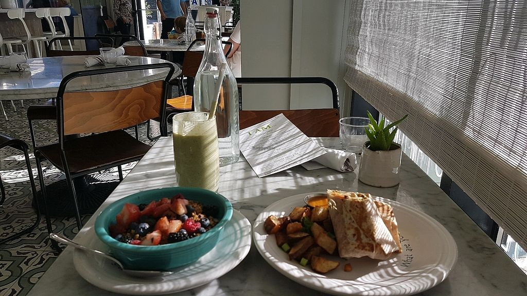 """Photo of Cafe Gratitude  by <a href=""""/members/profile/davidbhk"""">davidbhk</a> <br/>Poweful yogurt, Content wrap, Illuminated smoothie <br/> February 4, 2018  - <a href='/contact/abuse/image/63145/354963'>Report</a>"""