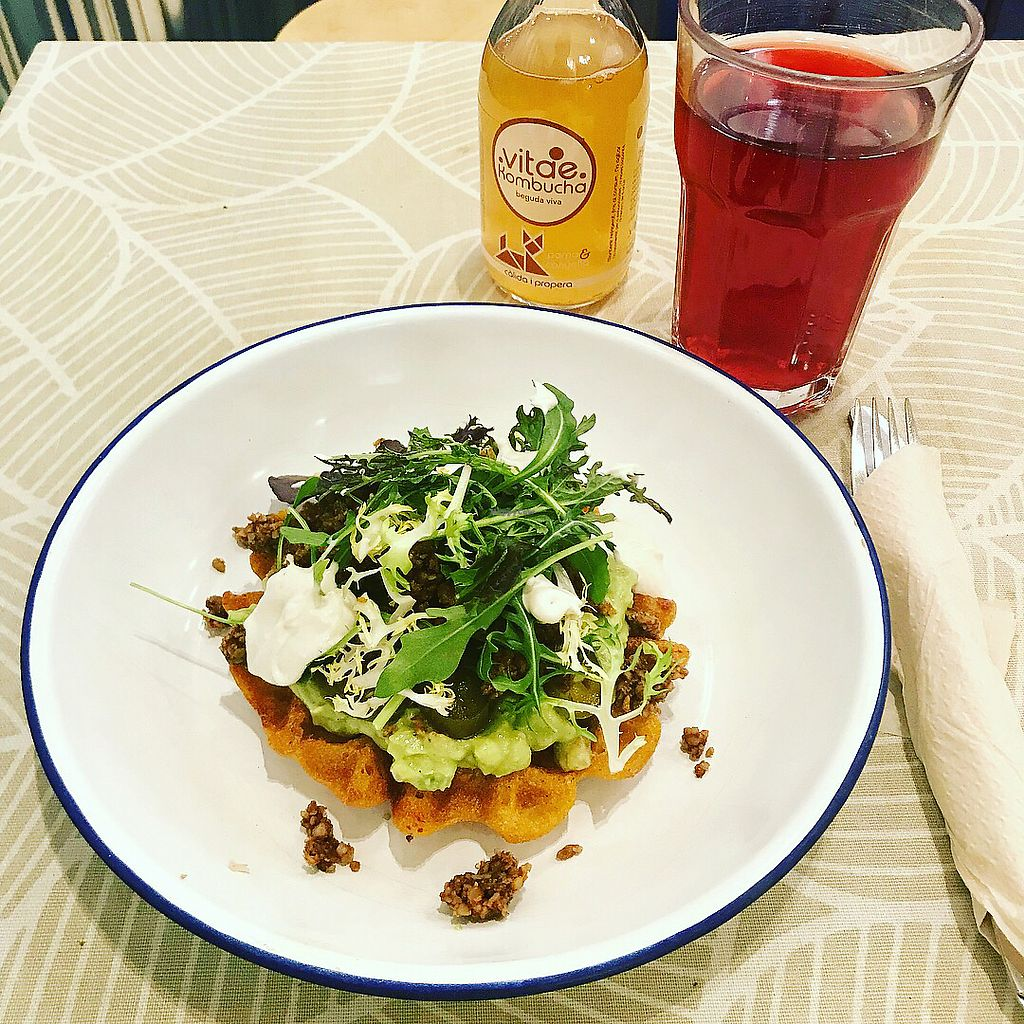 """Photo of Vacka  by <a href=""""/members/profile/Maeahem"""">Maeahem</a> <br/>glutenfree waffle with guacamole, sunflower meat, mixed greens, vegan sour cream and jalapeño + kombucha and a hibiscus infusion <br/> January 13, 2018  - <a href='/contact/abuse/image/63179/346054'>Report</a>"""