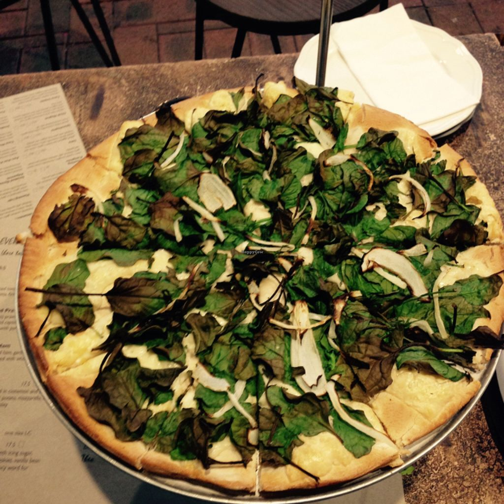 """Photo of Theo & Co. Pizzeria  by <a href=""""/members/profile/Misanthropia"""">Misanthropia</a> <br/>Spinach Pizza  <br/> September 10, 2015  - <a href='/contact/abuse/image/63184/117278'>Report</a>"""