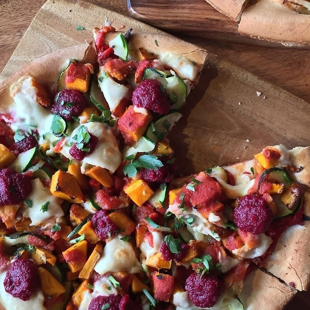 """Photo of Theo & Co. Pizzeria  by <a href=""""/members/profile/caitjoy"""">caitjoy</a> <br/>Farmers market pizza with vegan soy cheese <br/> April 9, 2017  - <a href='/contact/abuse/image/63184/276707'>Report</a>"""