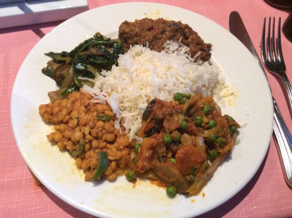 "Photo of The Rajpoute  by <a href=""/members/profile/AndreaD"">AndreaD</a> <br/>vegetable curry, Tarka Dahl, Aubergine dish, fresh vegetables from garden - courgettes and spinach and steamed rice. vegan and delicious and vegan chaotic too! <br/> September 9, 2015  - <a href='/contact/abuse/image/63201/117187'>Report</a>"