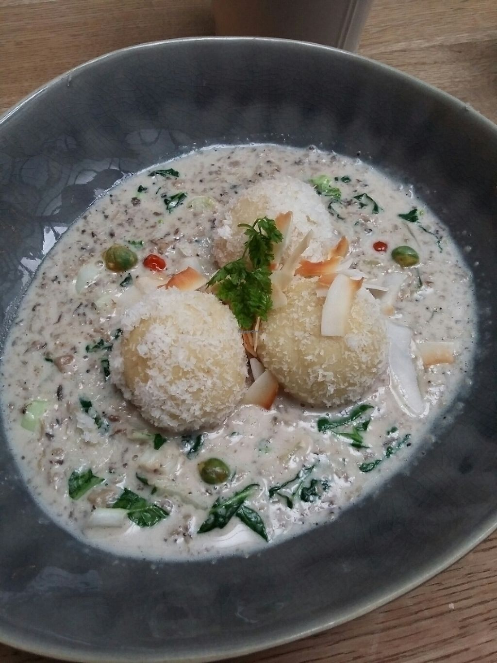 """Photo of TIAN Bistro am Spittelberg  by <a href=""""/members/profile/RenataRusnak"""">RenataRusnak</a> <br/>white polenta, coconut, shitake. almost dessert <br/> May 5, 2017  - <a href='/contact/abuse/image/63223/255909'>Report</a>"""
