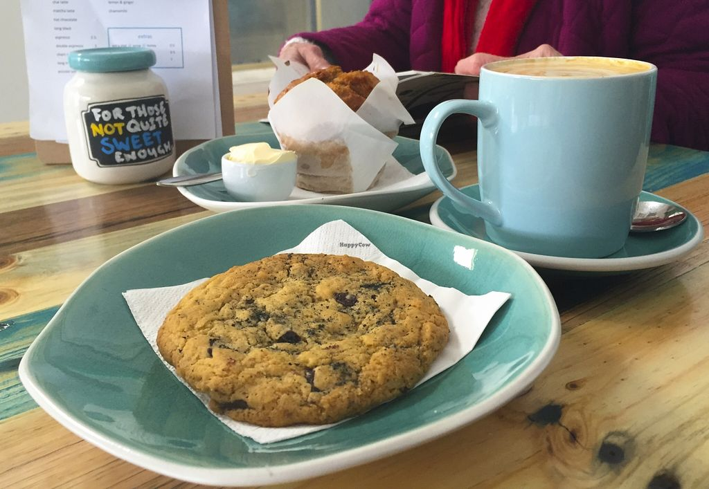 "Photo of Two Cats Espresso Bar  by <a href=""/members/profile/karlaess"">karlaess</a> <br/>Salted choc chip cookie & muffin <br/> September 13, 2015  - <a href='/contact/abuse/image/63229/117621'>Report</a>"