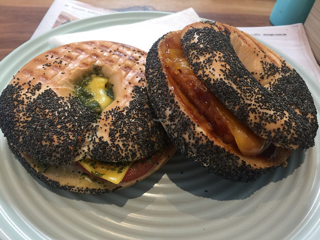 "Photo of Two Cats Espresso Bar  by <a href=""/members/profile/Tiggy"">Tiggy</a> <br/>Toasted tomato and pesto (left) and hash brown bagels $7 each <br/> March 14, 2018  - <a href='/contact/abuse/image/63229/370359'>Report</a>"