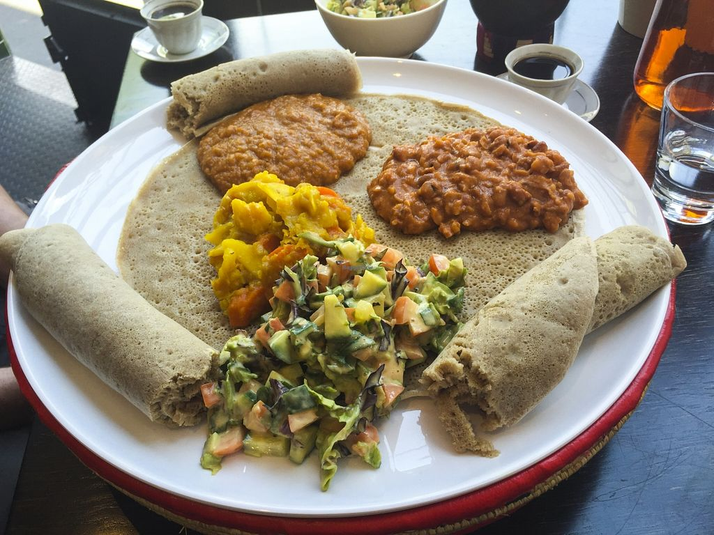 "Photo of Saba's Ethiopian Restaurant   by <a href=""/members/profile/karlaess"">karlaess</a> <br/>Vegetarian Combination <br/> October 11, 2015  - <a href='/contact/abuse/image/63230/120950'>Report</a>"