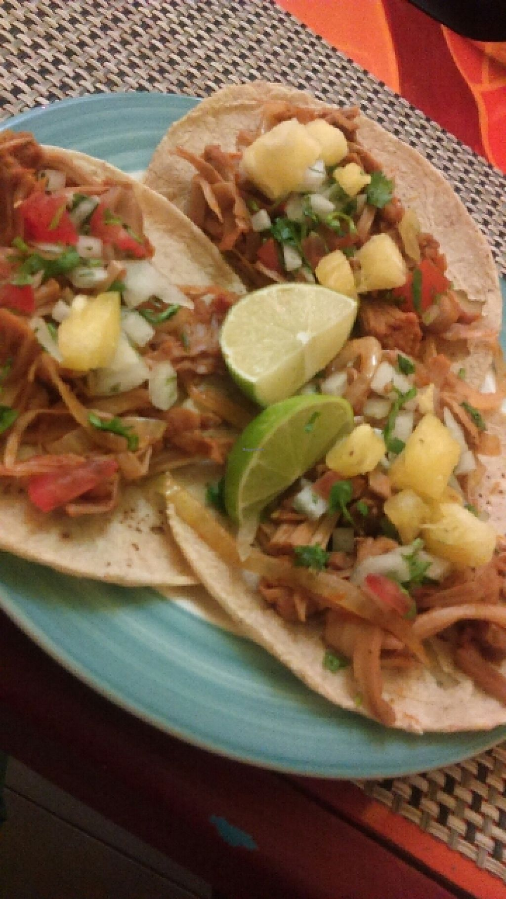 """Photo of Dharma Vegetariano  by <a href=""""/members/profile/Dharma%20Cafe"""">Dharma Cafe</a> <br/>tacos al Pastor de jackfruit <br/> July 7, 2016  - <a href='/contact/abuse/image/63308/158288'>Report</a>"""