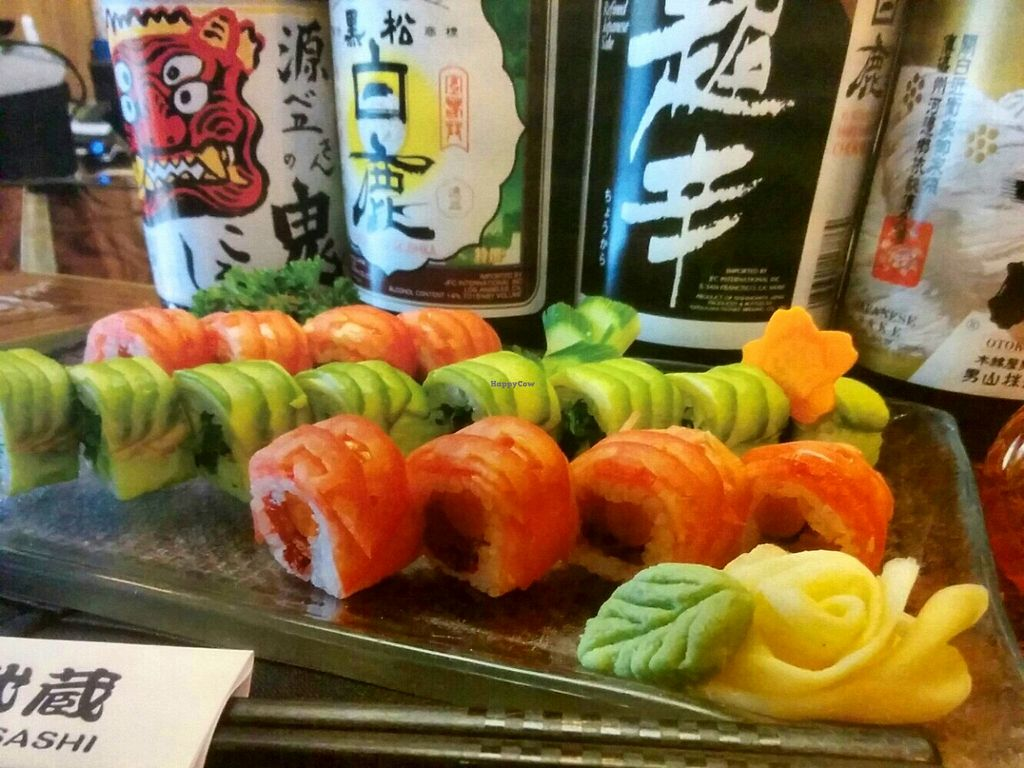 "Photo of Musashi Exotic Japanese Vegan & Sake Bar  by <a href=""/members/profile/Miyamoto634"">Miyamoto634</a> <br/>Pink Vegan Roll&Green Vegan Roll <br/> September 13, 2015  - <a href='/contact/abuse/image/63325/117614'>Report</a>"