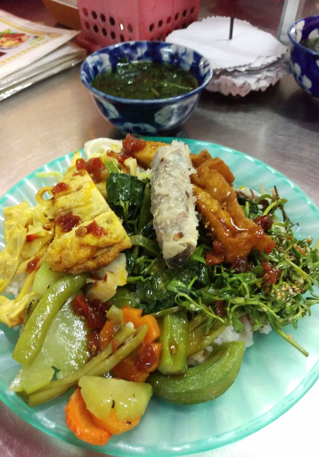 "Photo of Miss Thuy Vegetables - Food Stall  by <a href=""/members/profile/plottwisted"">plottwisted</a> <br/>Mix plate for VND30,000 (about USD1.50) <br/> September 18, 2015  - <a href='/contact/abuse/image/63326/118322'>Report</a>"
