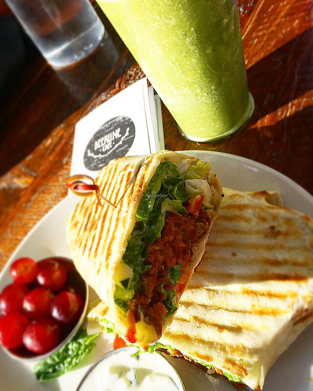"Photo of Beerline Cafe  by <a href=""/members/profile/mpopp000"">mpopp000</a> <br/>marvelous mint smoothie and Ethiopian sweet potato lentil wrap <br/> July 1, 2017  - <a href='/contact/abuse/image/63336/275642'>Report</a>"