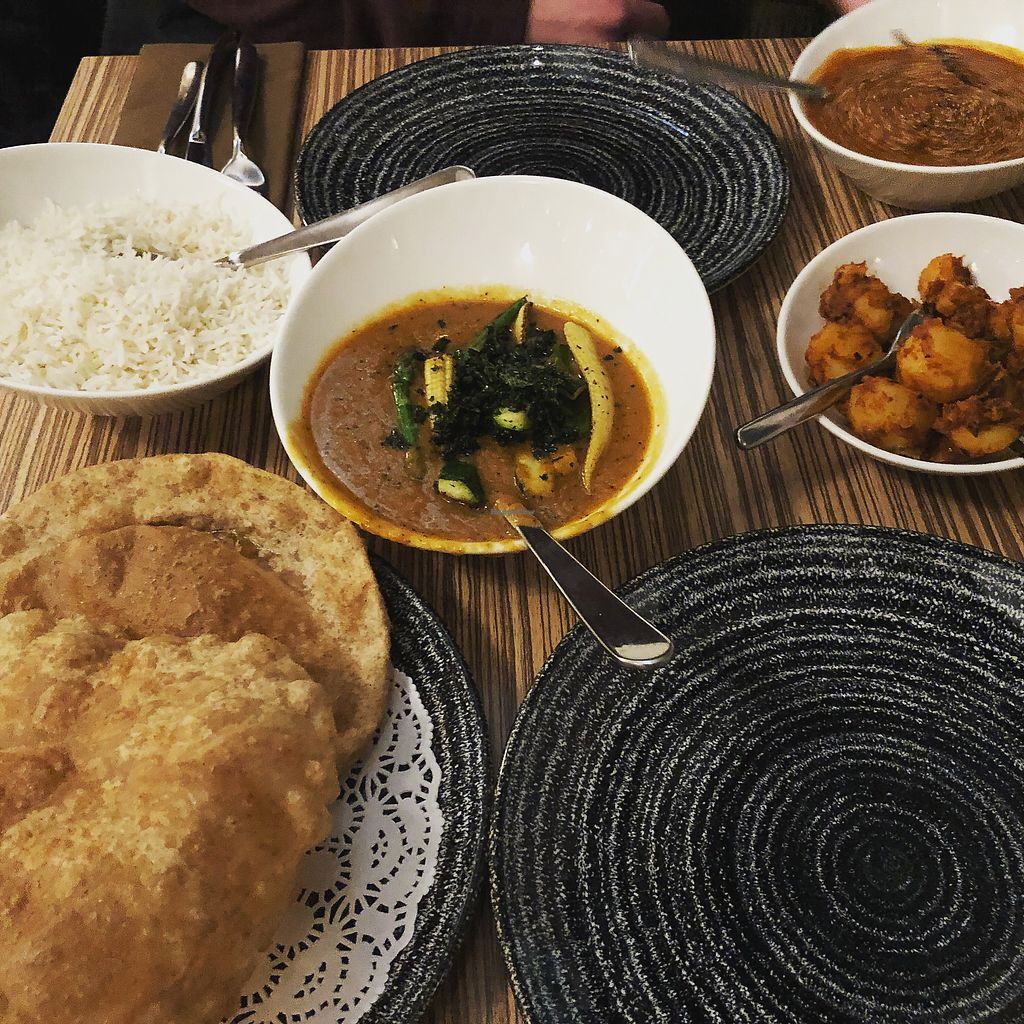 """Photo of Indian Temptation  by <a href=""""/members/profile/ffion"""">ffion</a> <br/>All off the vegan menu, dish in the middle is the vegetable korma.  <br/> February 20, 2018  - <a href='/contact/abuse/image/63349/361857'>Report</a>"""