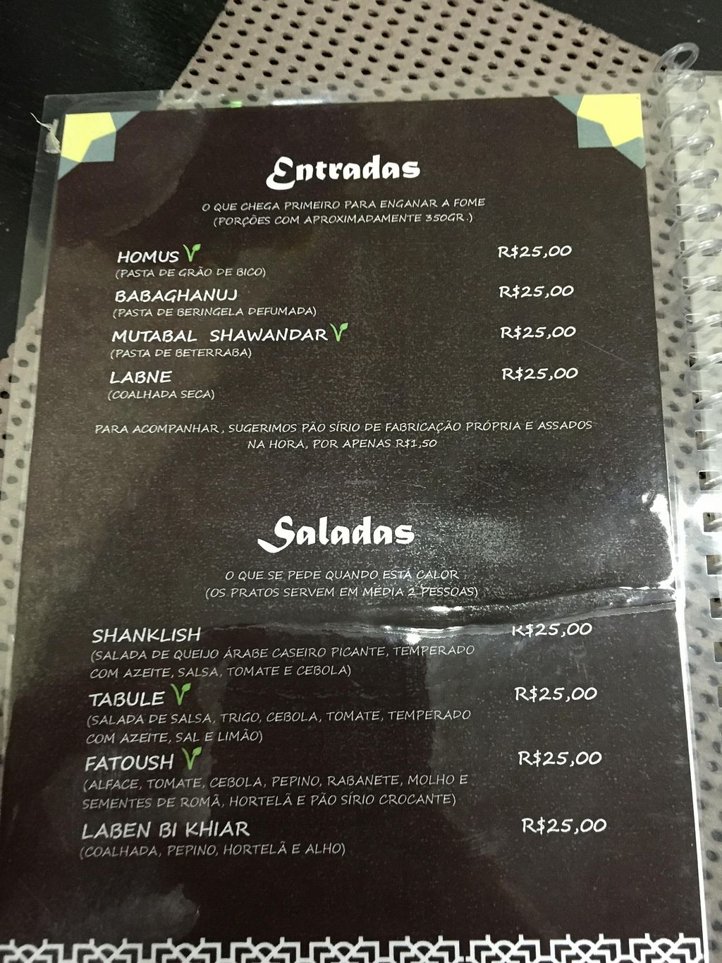 """Photo of CLOSED: Casa Siria  by <a href=""""/members/profile/Paolla"""">Paolla</a> <br/>Menu with V for vegan options :) <br/> February 12, 2016  - <a href='/contact/abuse/image/63365/135875'>Report</a>"""