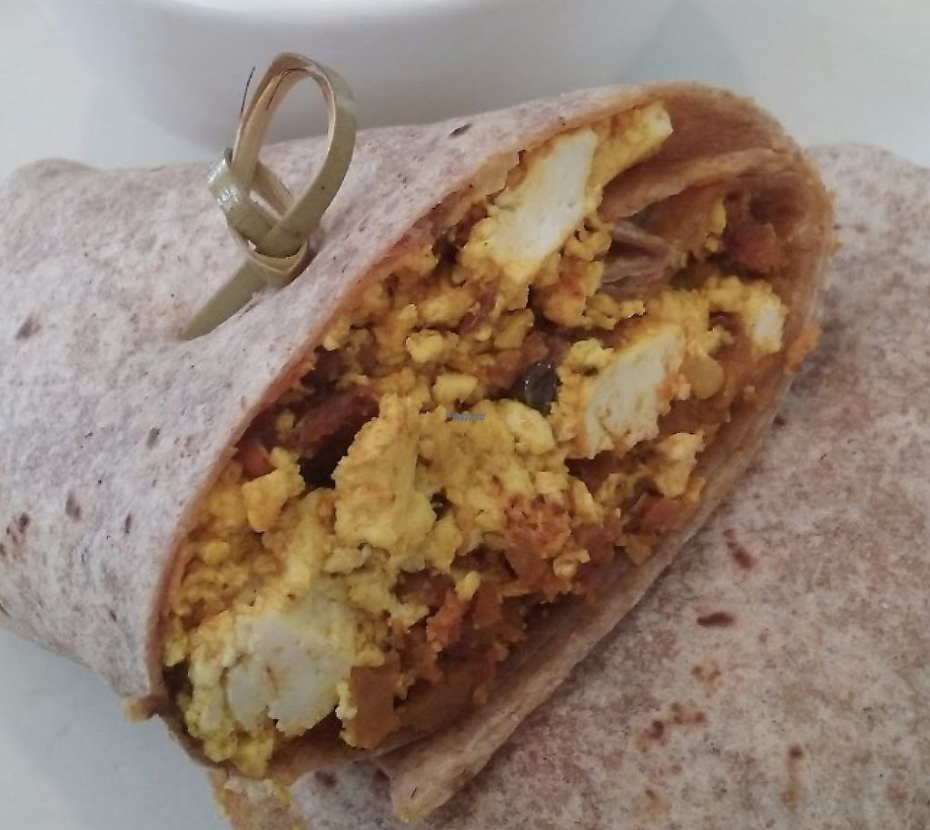 """Photo of True Food Kitchen  by <a href=""""/members/profile/veggie_htx"""">veggie_htx</a> <br/>Vegan tofu scramble wrap with soyrizo, pasilla chili and a side of ansazi beans for brunch <br/> August 12, 2016  - <a href='/contact/abuse/image/63398/229090'>Report</a>"""
