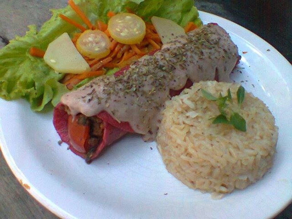 """Photo of Veg Casa Belem  by <a href=""""/members/profile/AmandaPassos"""">AmandaPassos</a> <br/>Red pancake (beet) with sauce, filled with braised eggplant, soybeans and vegetables. Comes with brown rice, saffron with herbs and salad <br/> September 22, 2015  - <a href='/contact/abuse/image/63423/118708'>Report</a>"""