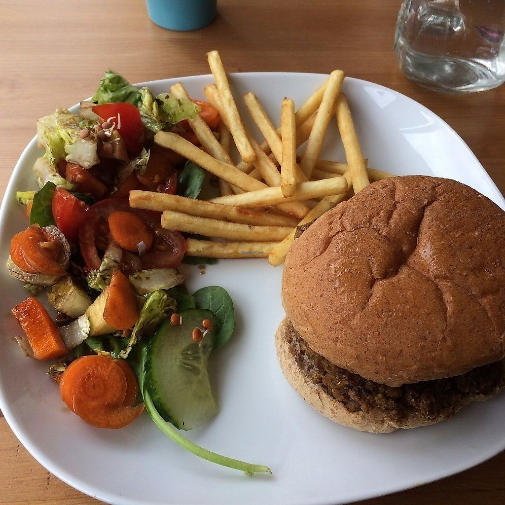 """Photo of The Green Room  by <a href=""""/members/profile/Hoggy"""">Hoggy</a> <br/>Curry-burger with salad and fries <br/> June 19, 2017  - <a href='/contact/abuse/image/63454/271150'>Report</a>"""