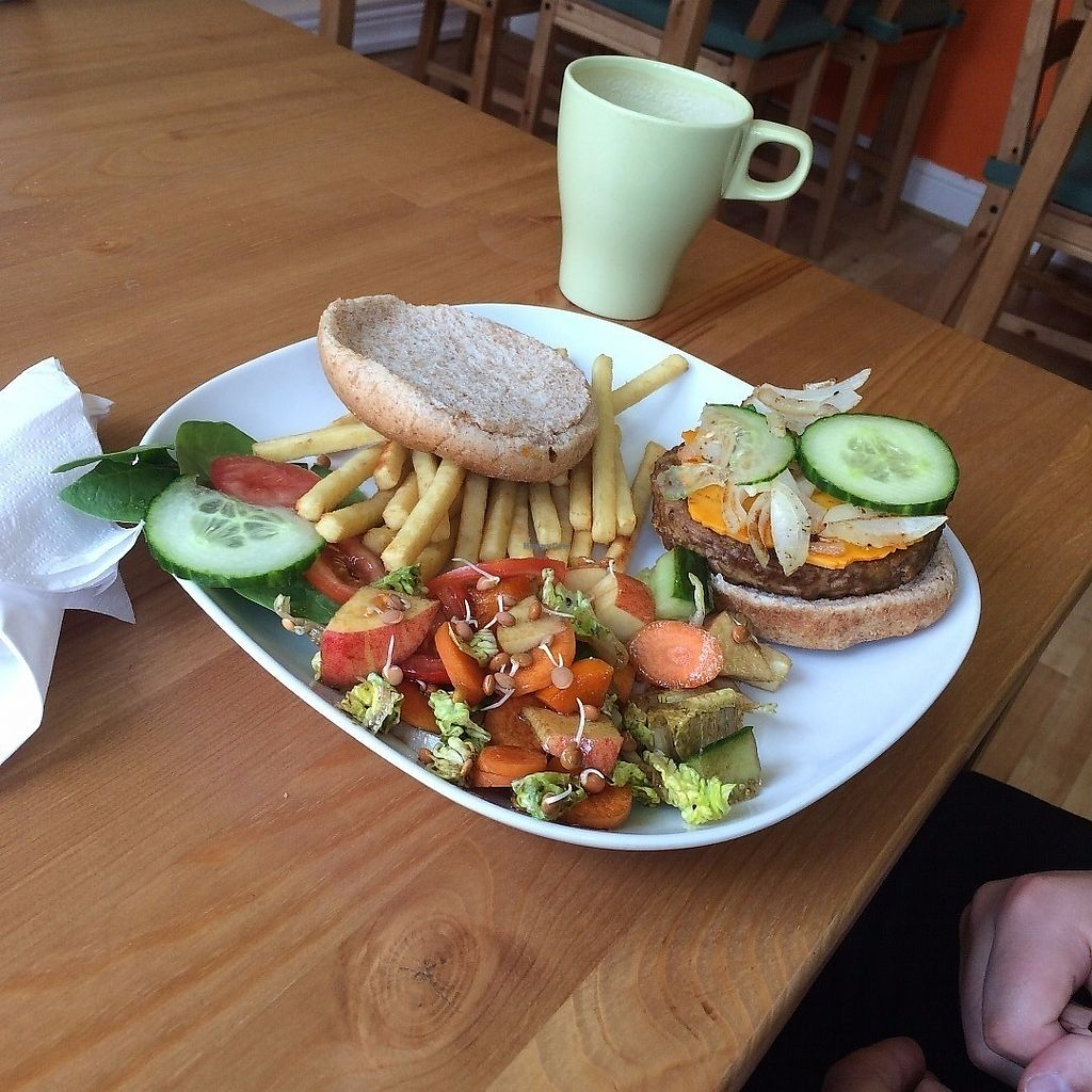 """Photo of The Green Room  by <a href=""""/members/profile/Hoggy"""">Hoggy</a> <br/>Cheeseburger with salad and fries <br/> June 19, 2017  - <a href='/contact/abuse/image/63454/271151'>Report</a>"""