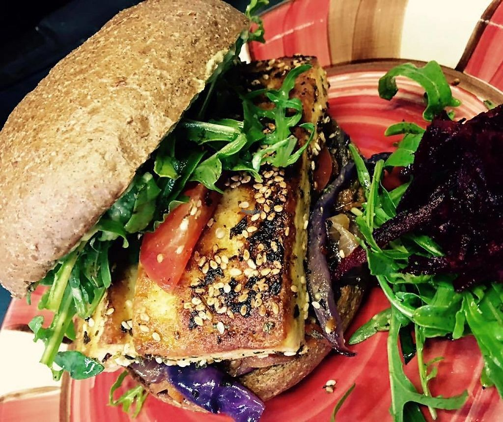 "Photo of CLOSED: Real Food in Tecoma  by <a href=""/members/profile/ChatNoir"">ChatNoir</a> <br/>vegan sesame tofu burger <br/> December 6, 2016  - <a href='/contact/abuse/image/63465/197840'>Report</a>"