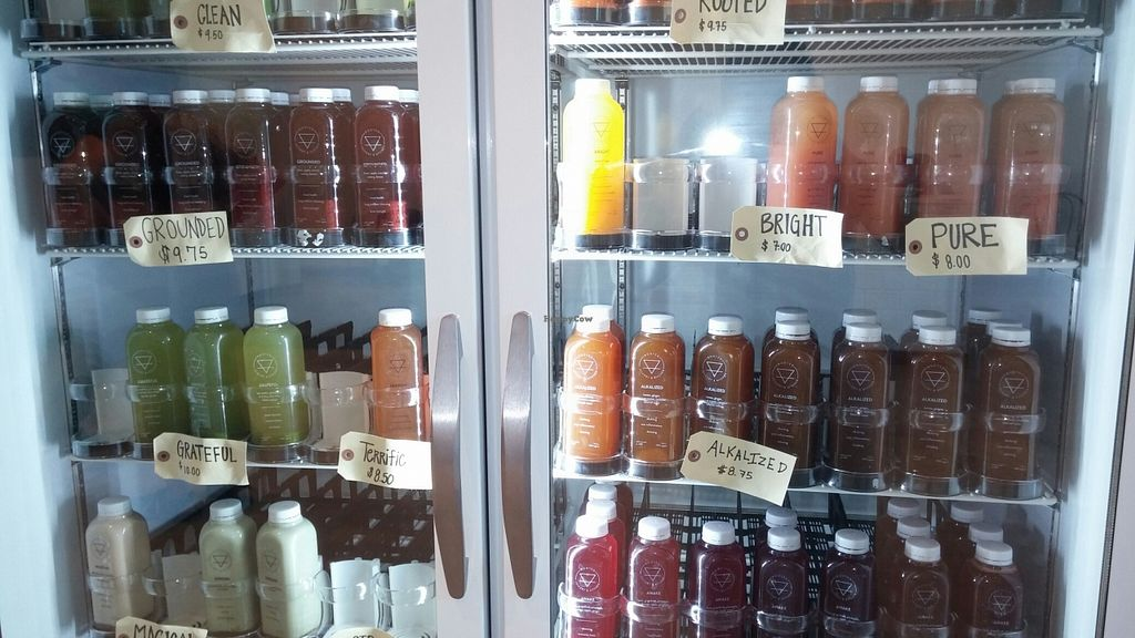 """Photo of Rooted Juicery and Kitchen  by <a href=""""/members/profile/SarahBaker"""">SarahBaker</a> <br/>Large selection of pre-made juices <br/> September 16, 2015  - <a href='/contact/abuse/image/63466/117964'>Report</a>"""