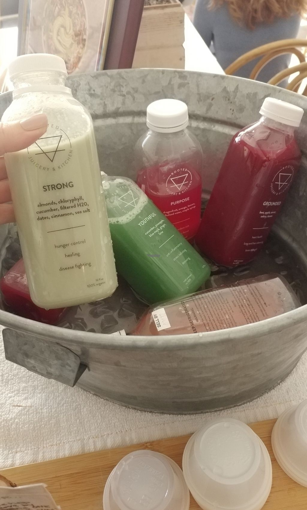 """Photo of Rooted Juicery and Kitchen  by <a href=""""/members/profile/KatBarry"""">KatBarry</a> <br/>Juice Samples <br/> March 15, 2017  - <a href='/contact/abuse/image/63466/236628'>Report</a>"""