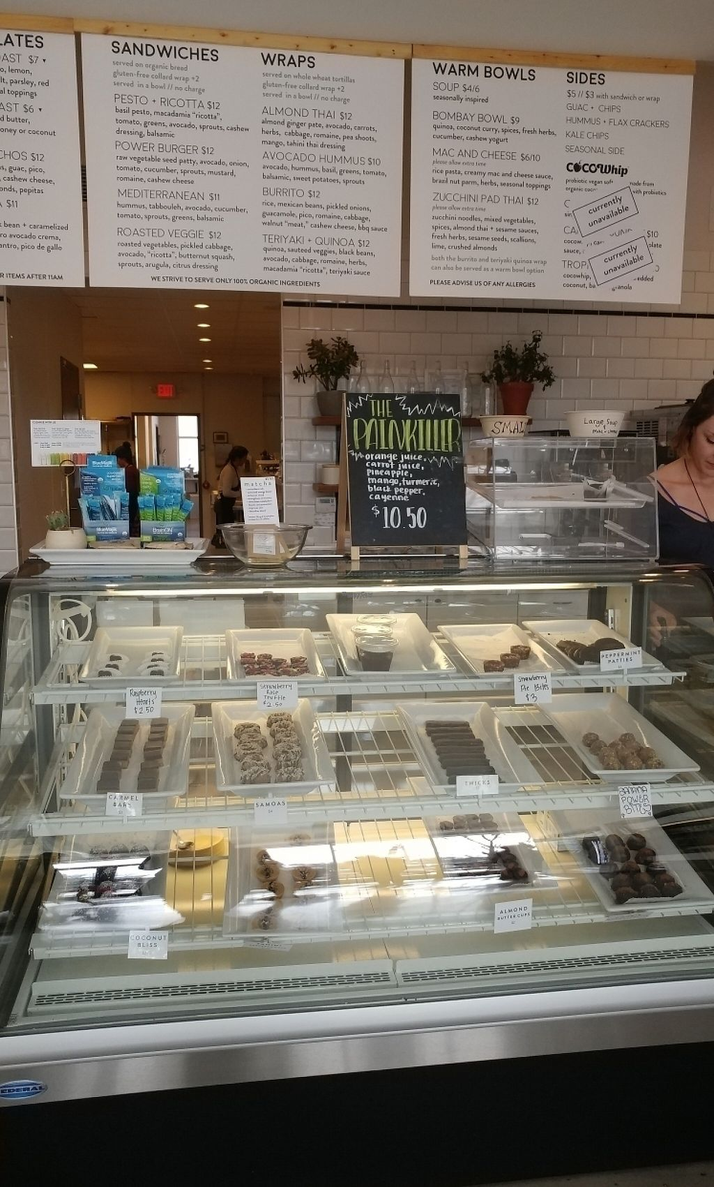 """Photo of Rooted Juicery and Kitchen  by <a href=""""/members/profile/KatBarry"""">KatBarry</a> <br/>Dessert Case/ Menu  <br/> March 15, 2017  - <a href='/contact/abuse/image/63466/236630'>Report</a>"""