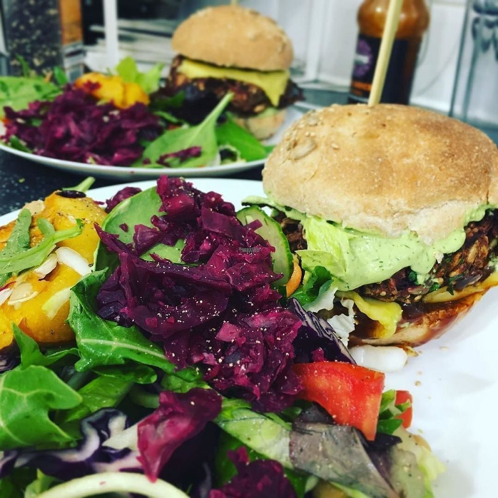 """Photo of The Feel Good Cafe  by <a href=""""/members/profile/TheFeelGoodCafe"""">TheFeelGoodCafe</a> <br/>Vegan Beetroot burger served with a salad <br/> November 3, 2016  - <a href='/contact/abuse/image/63478/186357'>Report</a>"""