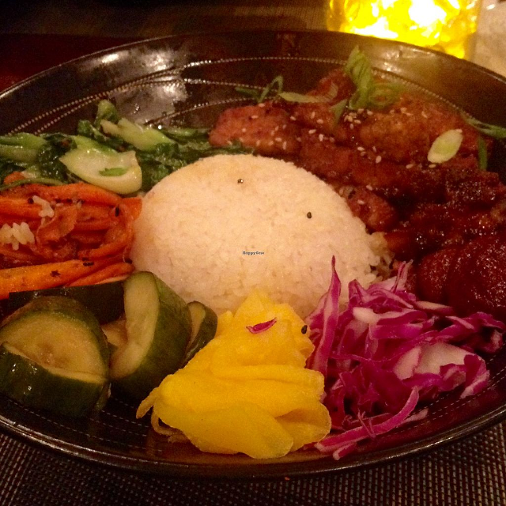 """Photo of Buku Raleigh  by <a href=""""/members/profile/turtleveg"""">turtleveg</a> <br/>vegan Korean BBQ tempeh bibimbap <br/> May 25, 2017  - <a href='/contact/abuse/image/63571/262474'>Report</a>"""