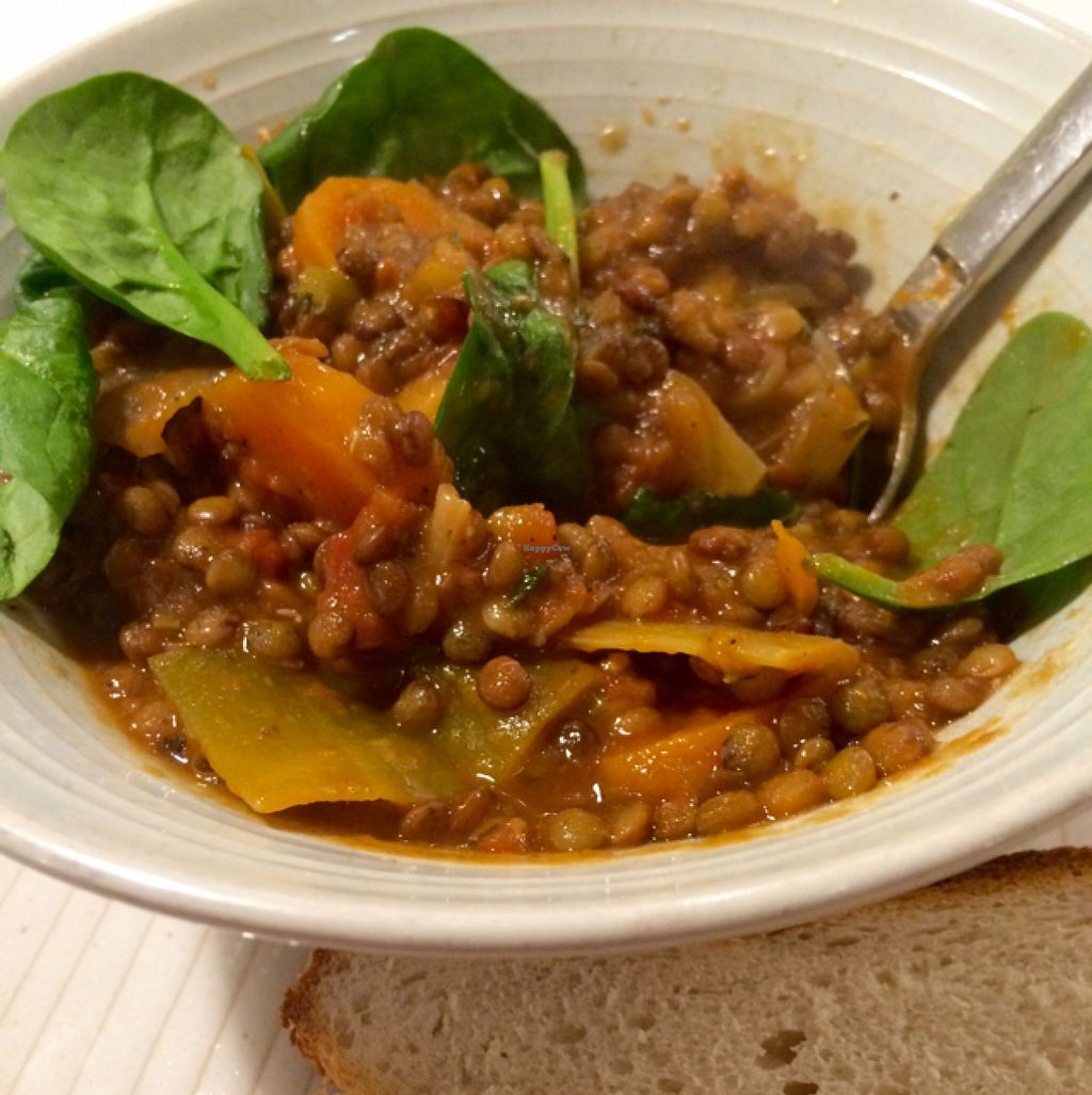 """Photo of Kaffe O  by <a href=""""/members/profile/CiaraSlevin"""">CiaraSlevin</a> <br/>Lentil and root vegetable stew with crusty bread (vegan) <br/> November 4, 2015  - <a href='/contact/abuse/image/63591/123883'>Report</a>"""
