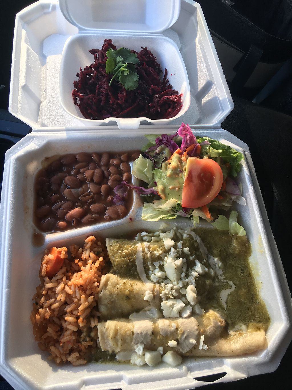 "Photo of Viva Vegeria  by <a href=""/members/profile/JenniferJames"">JenniferJames</a> <br/>Enchiladas verde (with rice, beans, and salad) and shredded beet salad <br/> September 9, 2017  - <a href='/contact/abuse/image/63637/302636'>Report</a>"