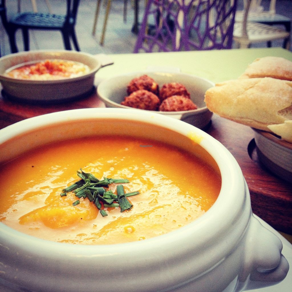 "Photo of Mercado Lounge  by <a href=""/members/profile/GeorgiaCook"">GeorgiaCook</a> <br/>Soup of the day, with falafels and hummus!  <br/> September 26, 2015  - <a href='/contact/abuse/image/63711/119227'>Report</a>"
