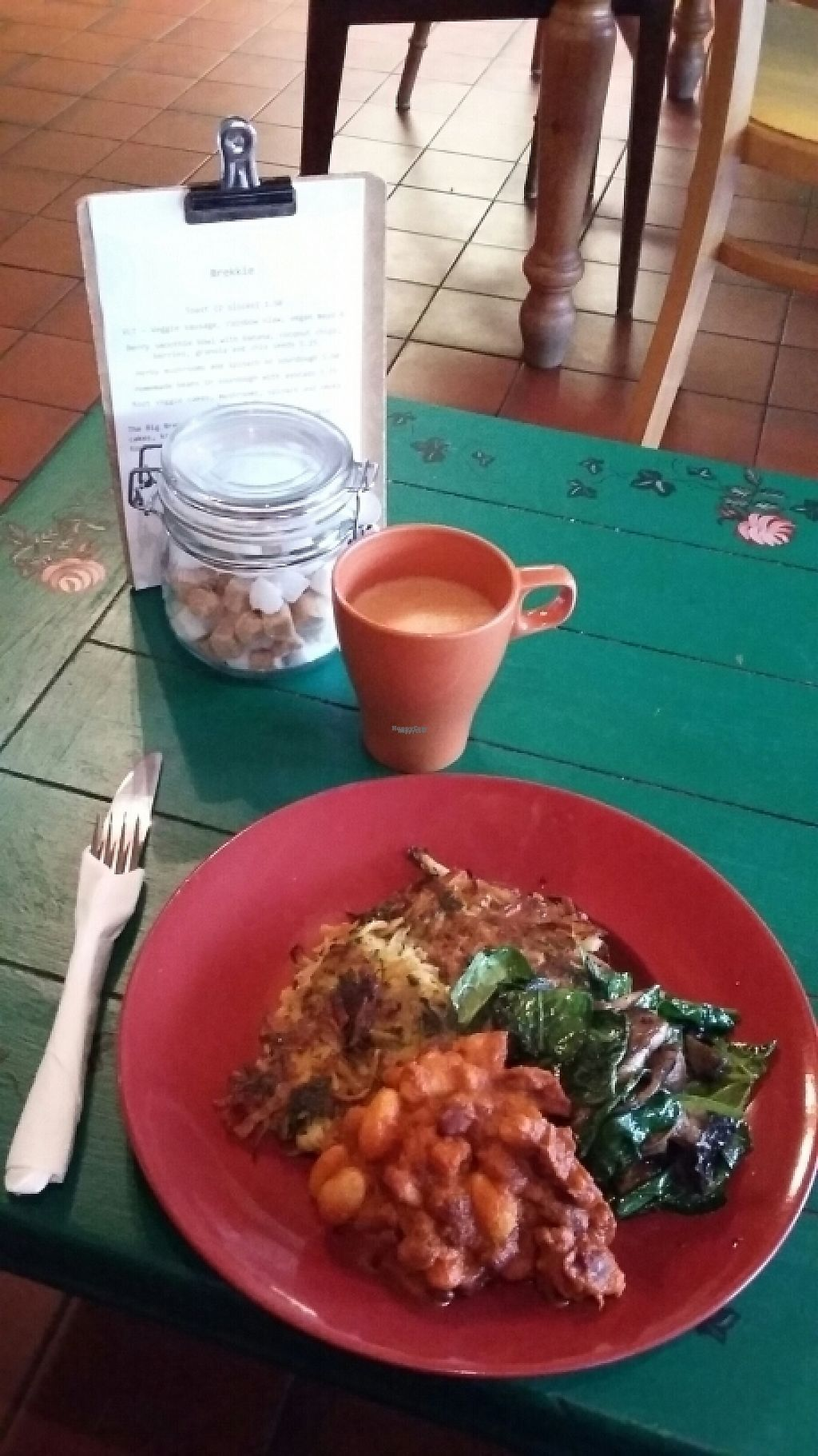 """Photo of The Wallflower Cafe  by <a href=""""/members/profile/WanderingWomble"""">WanderingWomble</a> <br/>Oat Latte with Root veggie cakes, mushrooms, spinach, smoky beans Wallflower breakie!  <br/> February 10, 2017  - <a href='/contact/abuse/image/63719/225064'>Report</a>"""