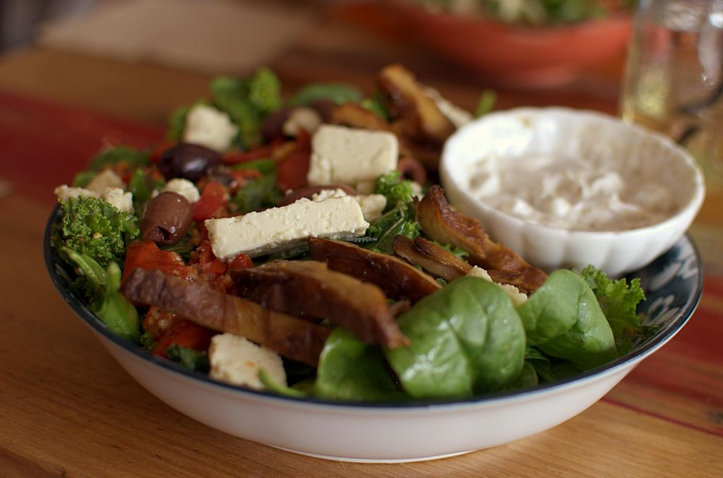 """Photo of CLOSED: From the Art Ethical Handicrafts and Cafe  by <a href=""""/members/profile/chocoholicPhilosophe"""">chocoholicPhilosophe</a> <br/>Mediterranean grilled 'duck' salad with vegan feta <br/> March 1, 2016  - <a href='/contact/abuse/image/63760/138278'>Report</a>"""