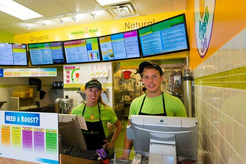 """Photo of Smoothie Fresh Cafe  by <a href=""""/members/profile/beachdoxies"""">beachdoxies</a> <br/>Interior with staff <br/> September 25, 2015  - <a href='/contact/abuse/image/63872/119054'>Report</a>"""