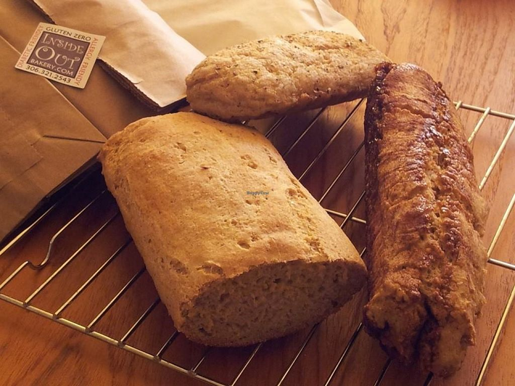 """Photo of Inside Out Bakery  by <a href=""""/members/profile/community"""">community</a> <br/>White Bread, Herbed Bread, and Cinnamon Baguettes <br/> October 3, 2015  - <a href='/contact/abuse/image/63890/120100'>Report</a>"""