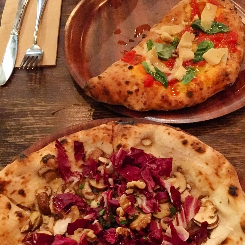 "Photo of Gigi Pizzeria  by <a href=""/members/profile/SeitanSeitanSeitan"">SeitanSeitanSeitan</a> <br/>Funghi e radicchio with walnuts and vegan blue cheese and Calzone with vegan ricotta & spinach.  <br/> April 22, 2016  - <a href='/contact/abuse/image/63893/145820'>Report</a>"