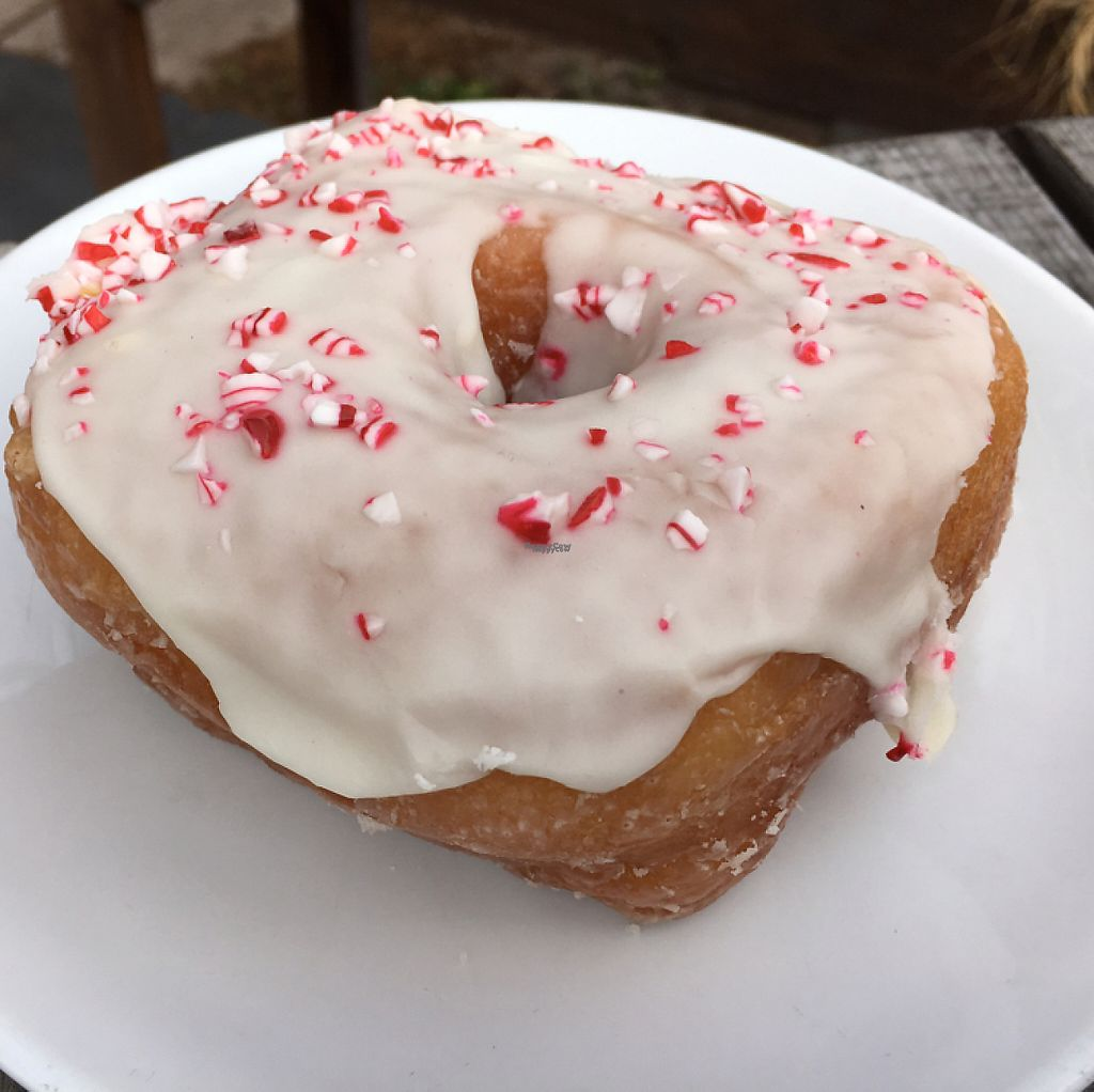 """Photo of Valhalla Bakery - Market on South  by <a href=""""/members/profile/KWdaddio"""">KWdaddio</a> <br/>vegan peppermint donut <br/> December 30, 2016  - <a href='/contact/abuse/image/64002/206263'>Report</a>"""