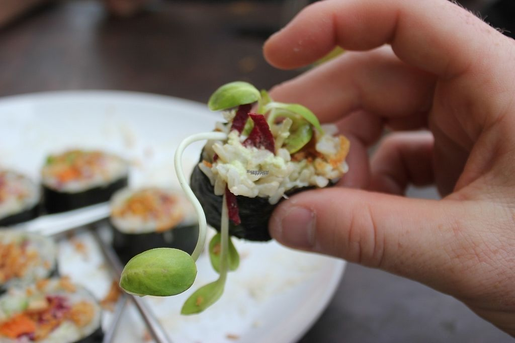"""Photo of VegetaBowl  by <a href=""""/members/profile/poweredbytofu"""">poweredbytofu</a> <br/>Beet Sushi, must try! <br/> February 15, 2017  - <a href='/contact/abuse/image/64003/226598'>Report</a>"""