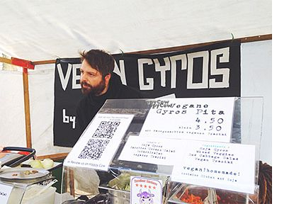 """Photo of Eat Up - Vegan Gyros Food Stall  by <a href=""""/members/profile/anniemaggiemay"""">anniemaggiemay</a> <br/>Vegan Gyros stall in Mauerpark <br/> September 10, 2016  - <a href='/contact/abuse/image/64011/174880'>Report</a>"""