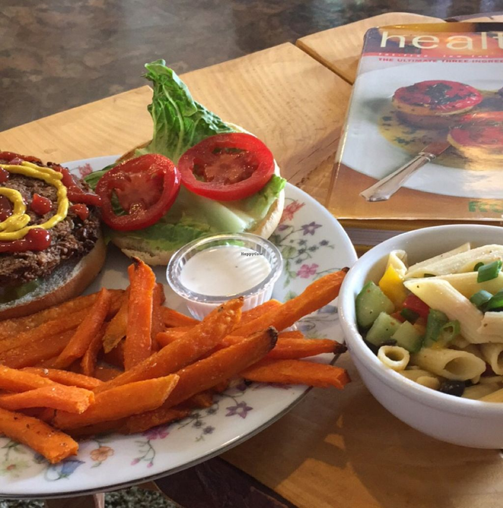 "Photo of The Tin Thistle Garden Cafe  by <a href=""/members/profile/Steviewonder13"">Steviewonder13</a> <br/>Pasta Salad and Village Burger  <br/> May 24, 2016  - <a href='/contact/abuse/image/64031/150651'>Report</a>"