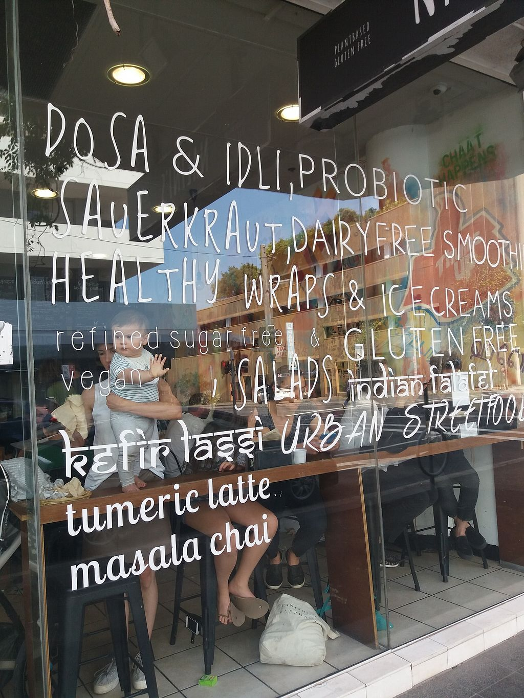 """Photo of Nalini's  by <a href=""""/members/profile/veganvirtues"""">veganvirtues</a> <br/>Signage on window showing healthy probiotics <br/> September 22, 2017  - <a href='/contact/abuse/image/64041/306965'>Report</a>"""