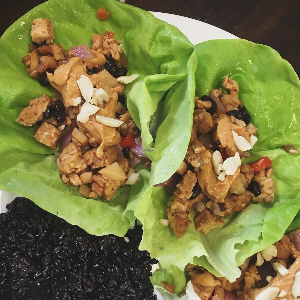 "Photo of Real Raw Organics  by <a href=""/members/profile/Realraworganics"">Realraworganics</a> <br/>All vegan entree of the day: tempeh Thai lettuce wraps with coconut forbidden rice and fresh pineapple! Only $15 <br/> January 13, 2016  - <a href='/contact/abuse/image/64089/202091'>Report</a>"