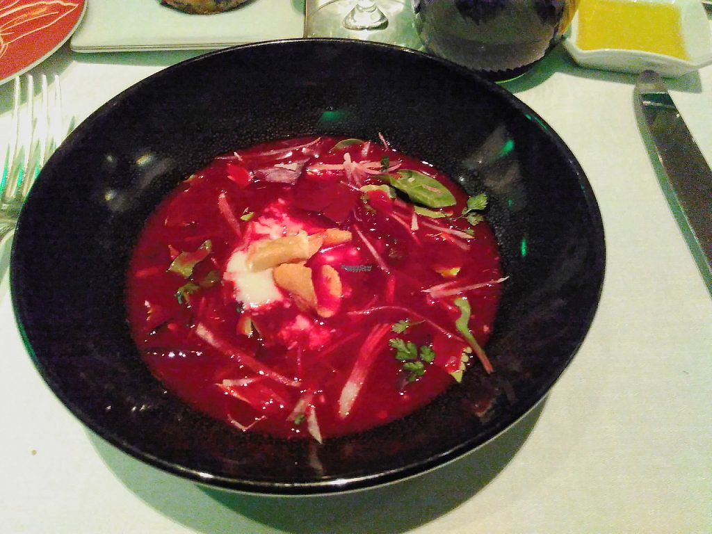"""Photo of Shangri-La Hotel - lounge  by <a href=""""/members/profile/JonJon"""">JonJon</a> <br/>Beetroot soup with soy <br/> January 29, 2017  - <a href='/contact/abuse/image/64090/219379'>Report</a>"""