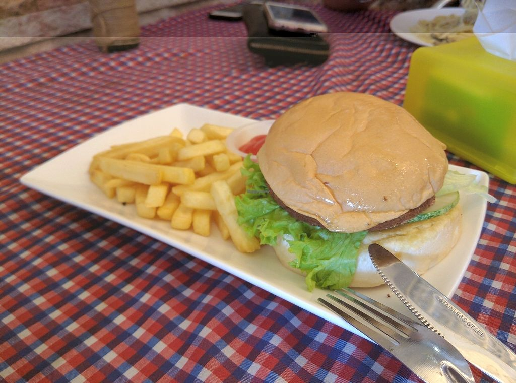 """Photo of Book Cafe  by <a href=""""/members/profile/Summer_Tan"""">Summer_Tan</a> <br/>Vegetarian Burger. Cheap, taste wise was just ok (quite below average) <br/> January 27, 2018  - <a href='/contact/abuse/image/64126/351524'>Report</a>"""