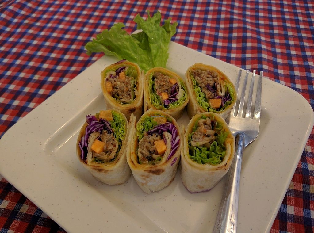 """Photo of Book Cafe  by <a href=""""/members/profile/Summer_Tan"""">Summer_Tan</a> <br/>Veganised Wrap with Mock Meat appetizer. Pretty tasty <br/> January 27, 2018  - <a href='/contact/abuse/image/64126/351525'>Report</a>"""