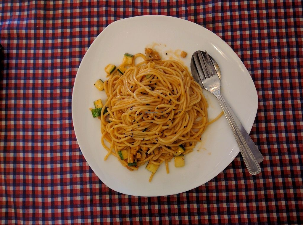 """Photo of Book Cafe  by <a href=""""/members/profile/Summer_Tan"""">Summer_Tan</a> <br/>Spaghetti Bolognese with cucumbers and mock meat chunks. The sauce just tasted of tomato ketchup <br/> January 27, 2018  - <a href='/contact/abuse/image/64126/351527'>Report</a>"""