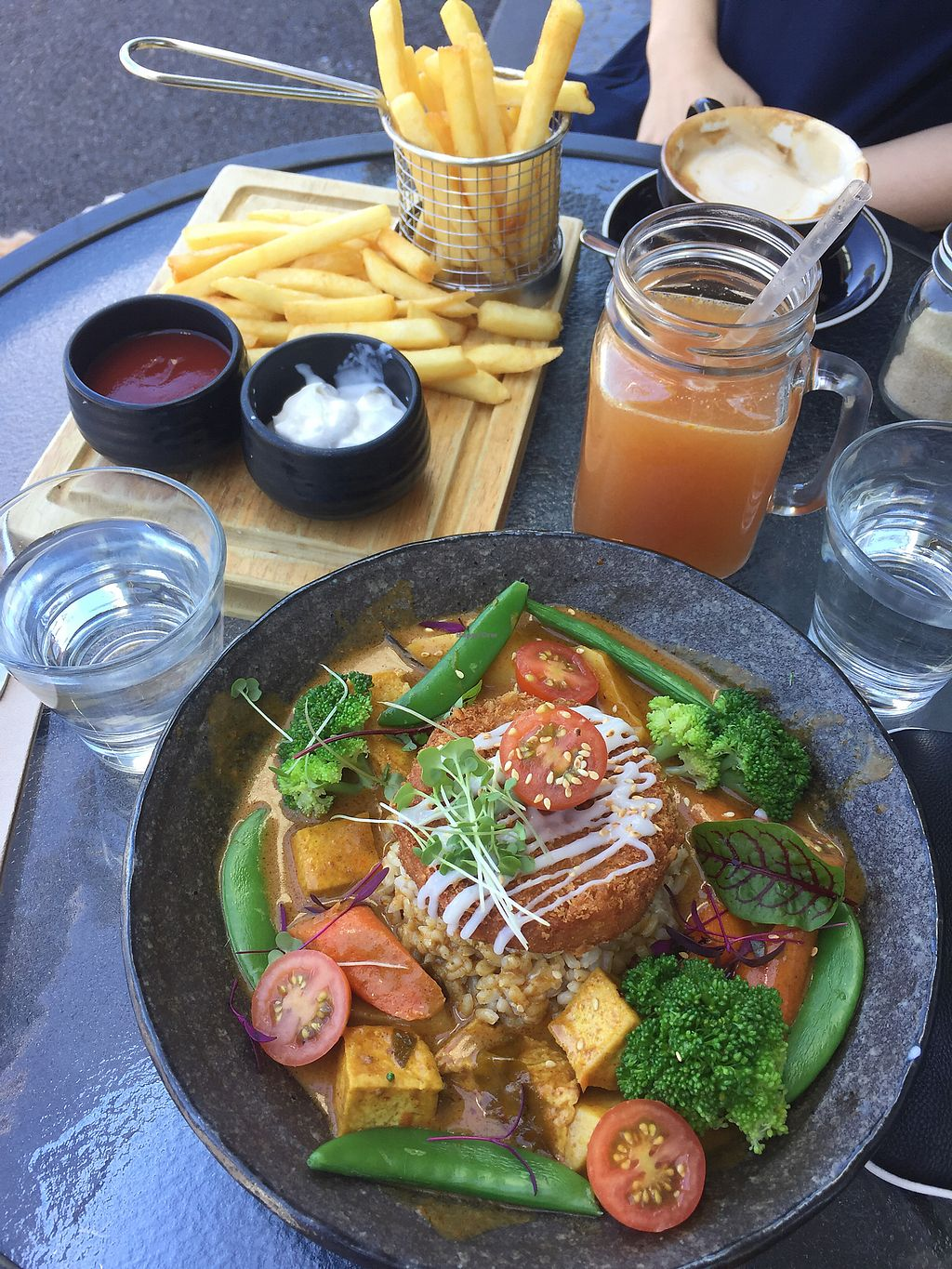 """Photo of V Series  by <a href=""""/members/profile/jessbaik"""">jessbaik</a> <br/>Vegan curry don, Vitamin C juice, potato fries with vegan sour cream <br/> December 31, 2017  - <a href='/contact/abuse/image/64133/341165'>Report</a>"""
