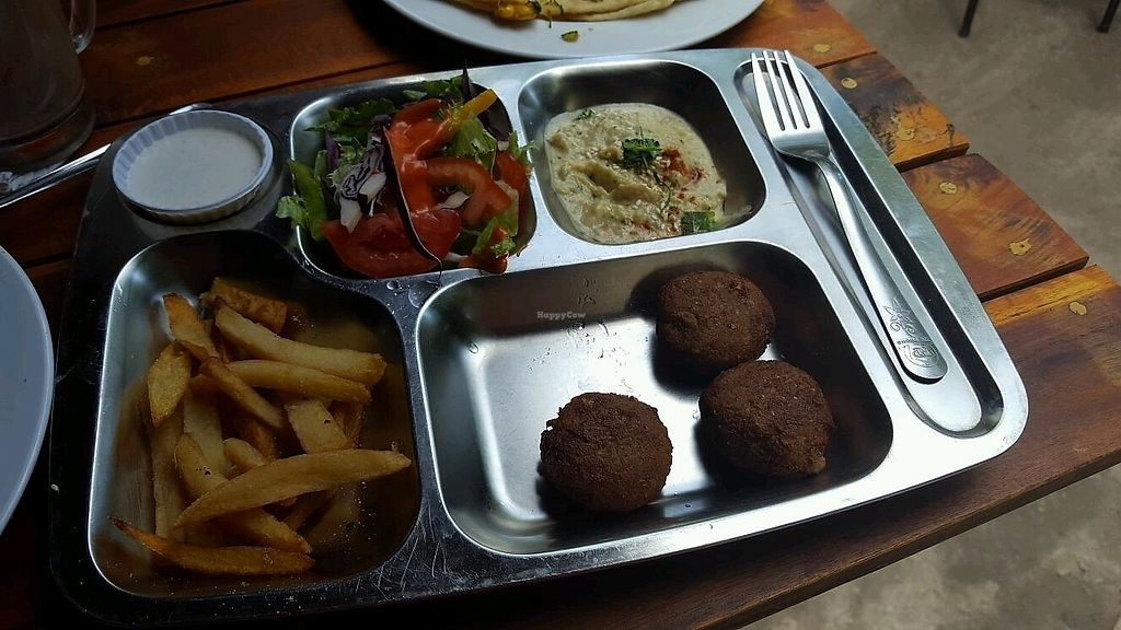 """Photo of EL Cafe Vegetarian Food  by <a href=""""/members/profile/Bintje"""">Bintje</a> <br/>Falafels plate (75k for 3 pieces)  <br/> April 11, 2018  - <a href='/contact/abuse/image/64136/383845'>Report</a>"""