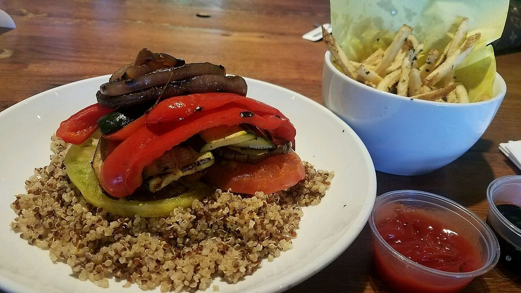 """Photo of Mouthful Eatery  by <a href=""""/members/profile/gabschwoyer"""">gabschwoyer</a> <br/>veggie quinoa bowl, no mushroom. And a side of shoe string fries <br/> November 15, 2017  - <a href='/contact/abuse/image/64156/325994'>Report</a>"""