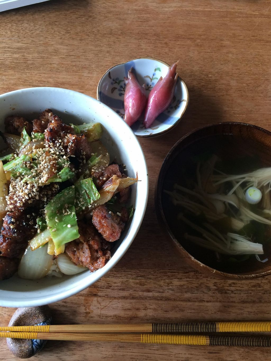 """Photo of Organic Cafe Kally  by <a href=""""/members/profile/Vegeiko"""">Vegeiko</a> <br/>Soy meat rice bowl with soup <br/> October 4, 2015  - <a href='/contact/abuse/image/64182/120227'>Report</a>"""