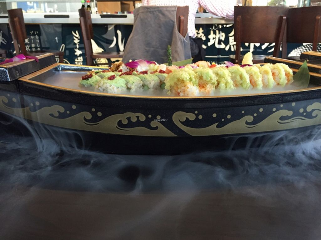 """Photo of Blue Sushi Sake Grill  by <a href=""""/members/profile/TracieMucha"""">TracieMucha</a> <br/>Five vegan sushi rolls served on a smoking boat <br/> October 5, 2015  - <a href='/contact/abuse/image/64196/120344'>Report</a>"""